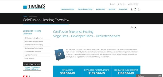 Screenshot of Media3 ColdFusion hosting page