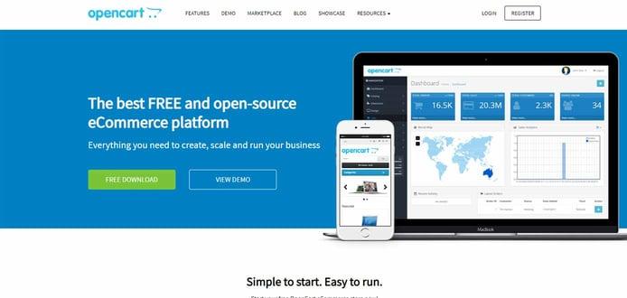 Screenshot of OpenCart