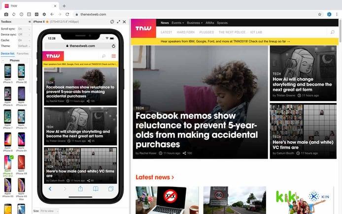 Screenshot of Blisk browser interface