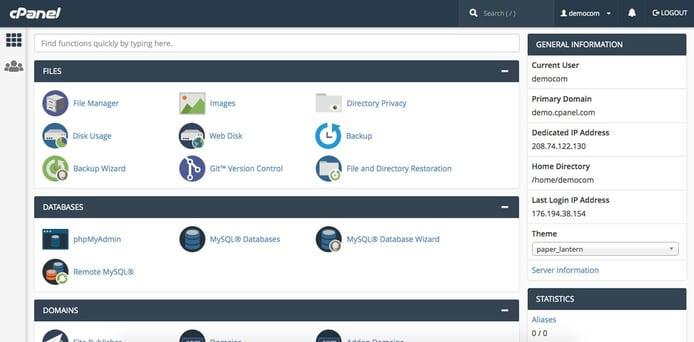 Screenshot of cPanel dashboard