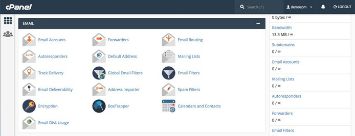 Screenshot of cPanel section of email tools