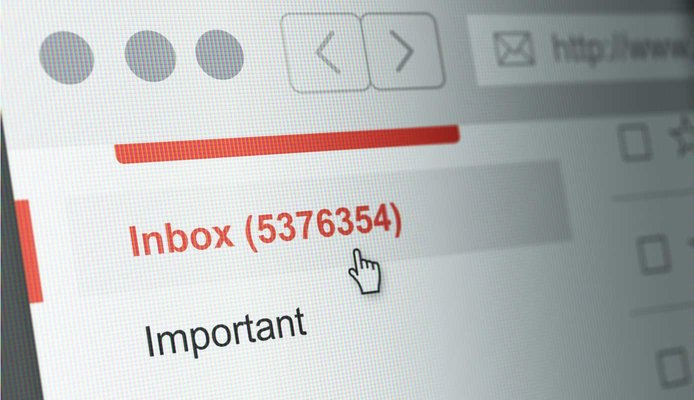 Photo illustration of email inbox