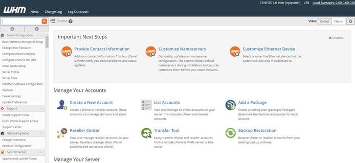 Screenshot of WHM dashboard