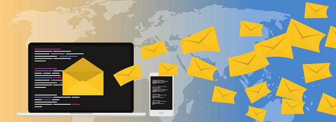 Illustration of a computer sending email around the world