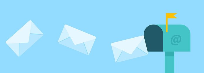 Illustration of messages going into a mailbox