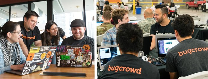 Photo collage of the Bugcrowd team
