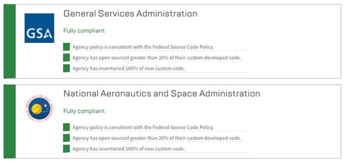 Screenshots showing compliance