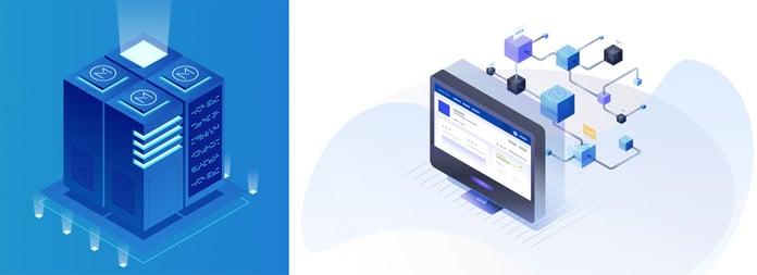 Graphical depictions of the Menlo One dApp development platform