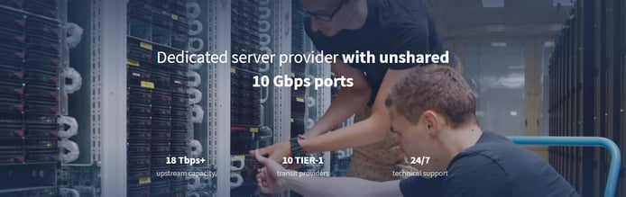 Dedicated server provider with unshared 10Gbps ports