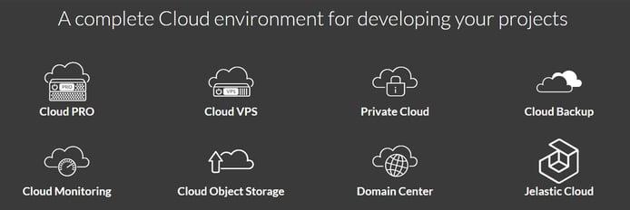 Screenshot of Aruba.it cloud environment