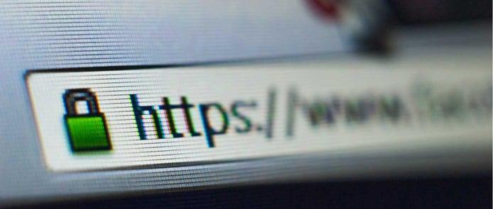 Screenshot illustration of website using HTTPS