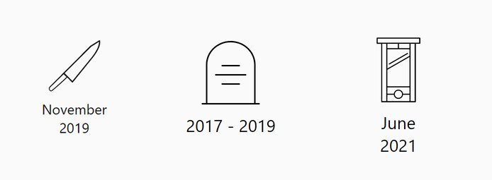 Knife, grave stone, and guillotine icons
