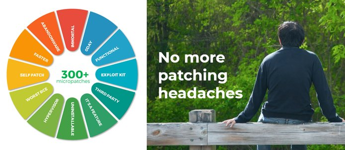 "Photo reading ""No more patching headaches"""