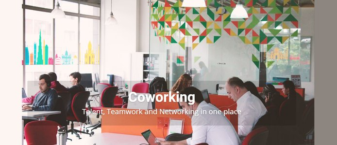 Image reading: Coworking; Talent, Teamwork, and Networking in one place