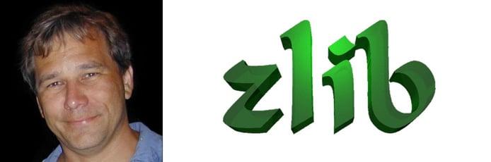 Photo of Mark Adler and zlib logo