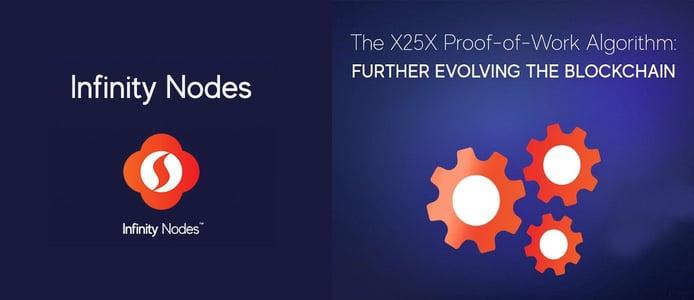 Infinity Nodes and X25X Algorithm logos