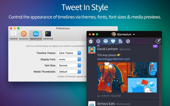 Control the appearance of timelines vis themes, fonts, font sizes, and media previews