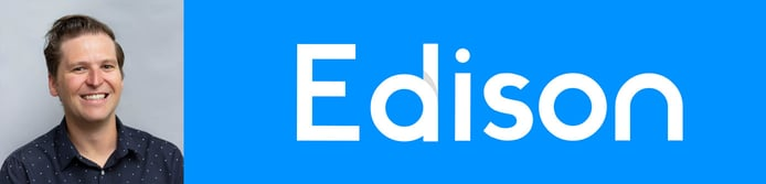 Jeff Pearsall, VP of Design at Edison Software, and Edison logo