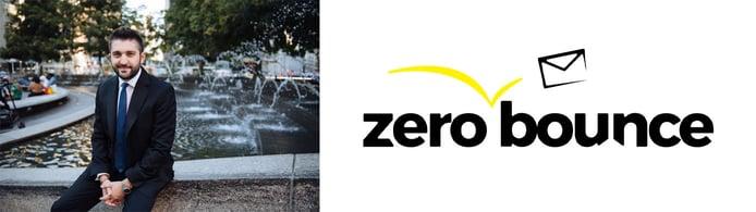 Liviu Tanase, Founder and CEO of ZeroBounce, and company logo