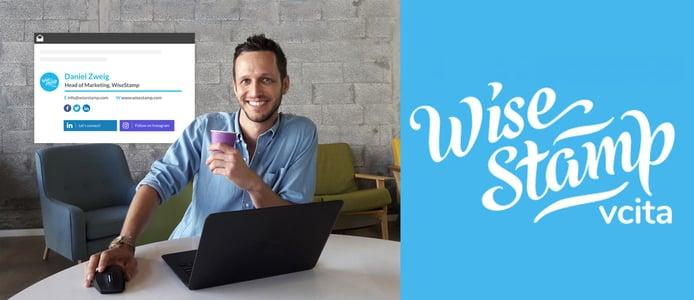 Photo of Daniel Zweig and WiseStamp logo