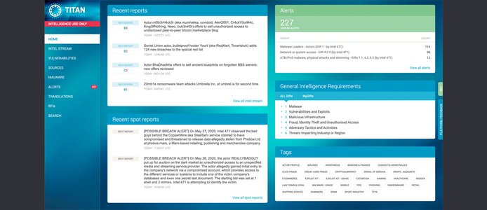 Screenshot of Intel 471 portal