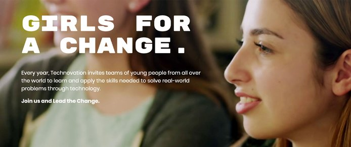 "Photo of young women and text reading ""Girls for a Change"""