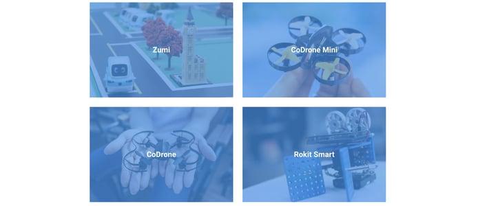 Product shots of Zumi, CoDrone Mini, CoDrone, and Rokit Smart