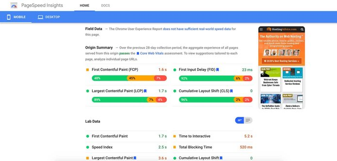 Screenshot di PageSpeed ​​Insights