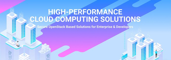 Pastel server imagery with text overlay reading high-performance cloud-computing solutions