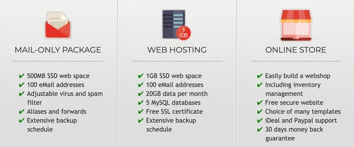 Screenshot of bHosted packages