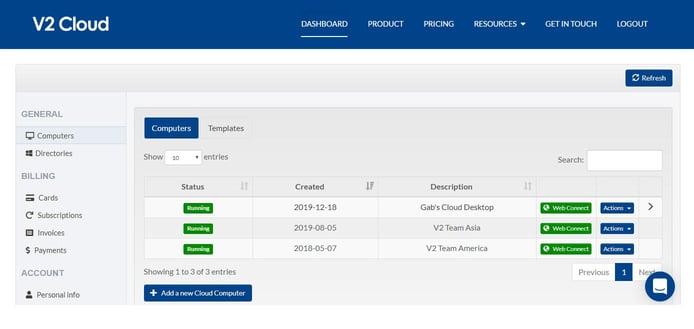 Screenshot of V2 Cloud dashboard