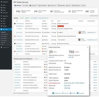 Screenshot of WP Cerber Security interface
