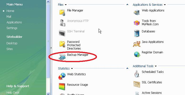 the Backup Manager in Plesk