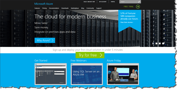 Microsoft Azure Website Screen Grab
