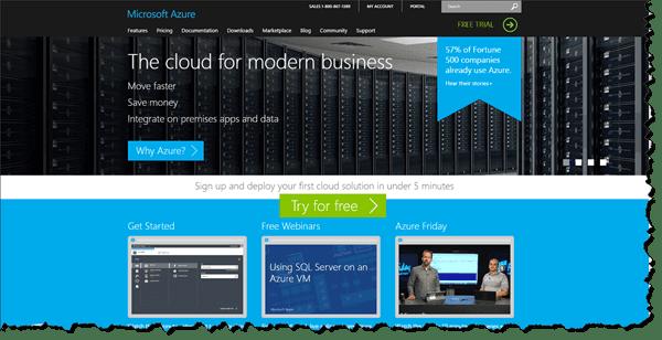 Microsoft Azure Website Screen Grab