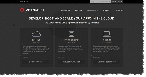 RedHat OpenShift Website Screen Grab