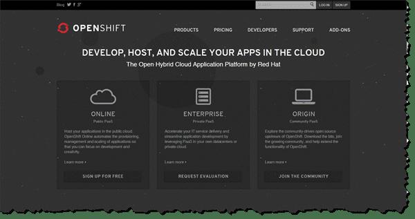 RedHat OpenShift Website Screen Grab
