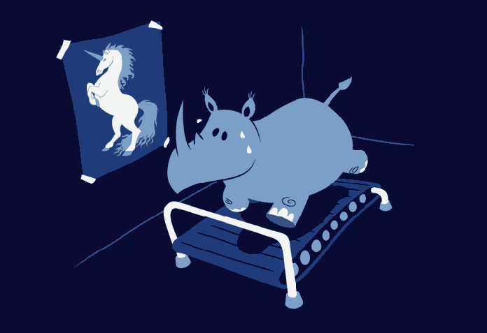 Rhino on treadmill trying to be a unicorn