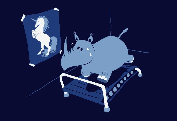 Rhino on treadmill trying to be a unicorn