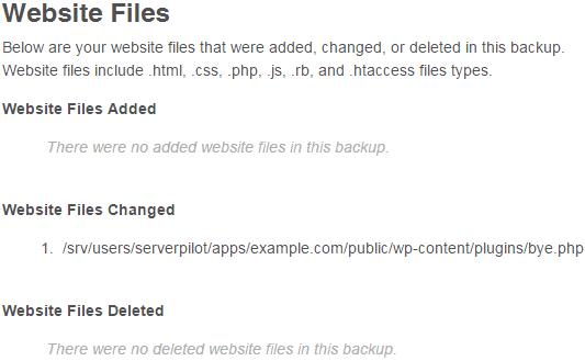 CodeGuard ChangeAlert Files Changed