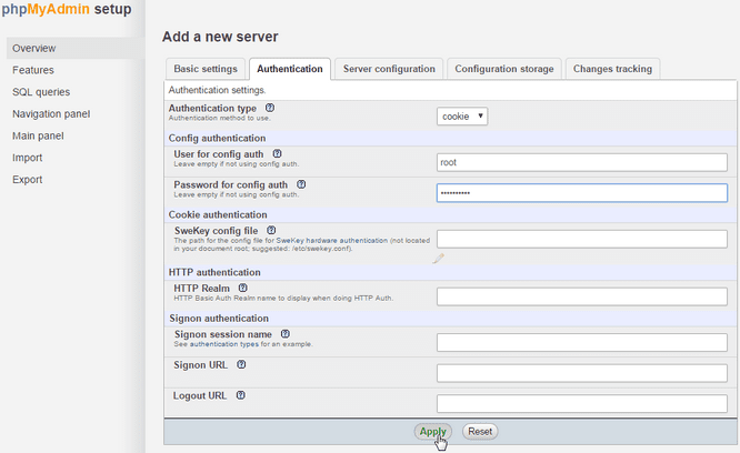phpMyAdmin Install from Source Authentication Tab Enter root Password