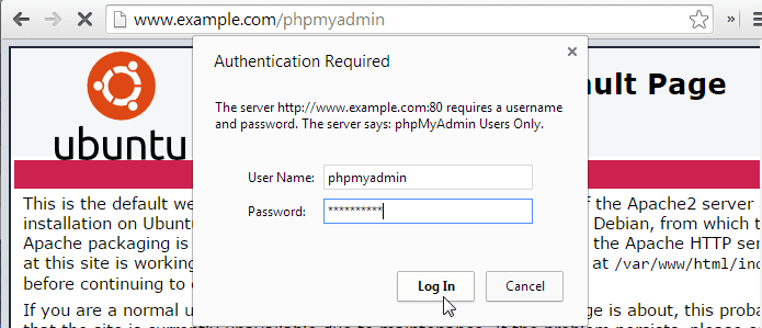 phpMyAdmin Login htaccess Password Prompt