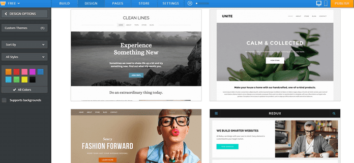Weebly Drag-and-Drop Editor Change Theme