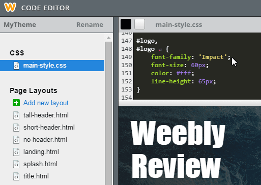 Weebly Drag and Drop Editor Edit HTML and CSS