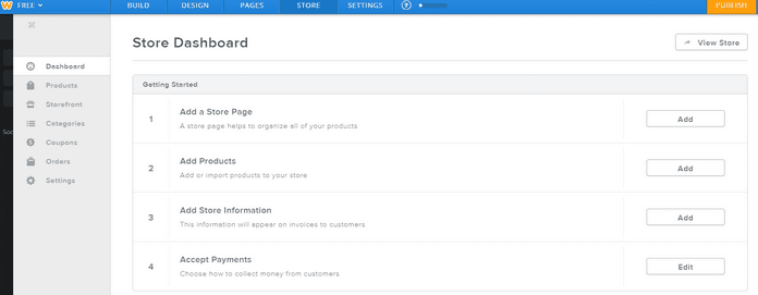 Weebly Drag and Drop Editor Store Dashboard