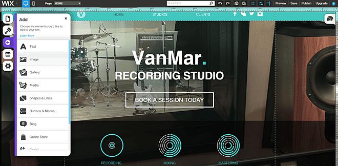 Wix Website Builder Dashboard 2015