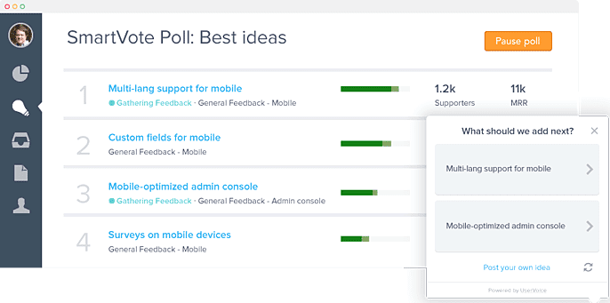 UserVoice 3.0 SmartVote Poll Screenshot