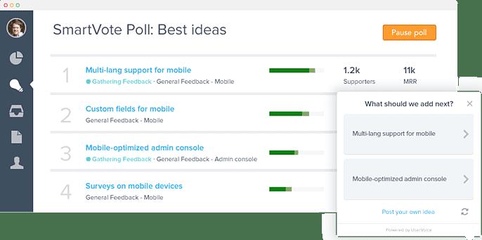 UserVoice 3.0 SmartVote Poll Screenshot