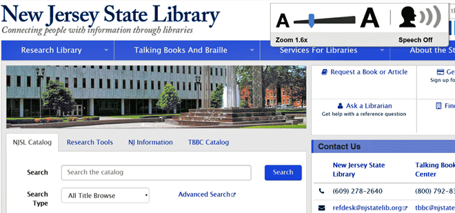 The New Jersey State Library enables sitecues® use on their shared computers and website