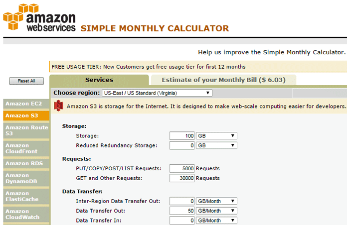 A HostingAdvice Sample Calculation of S3 Pricing